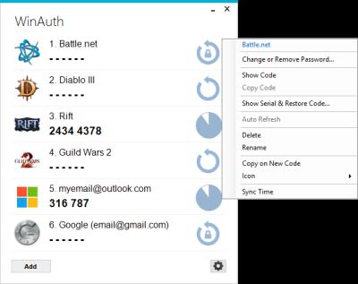Windows Authenticator for Google, Blizzard, Guild Wars, Rift
